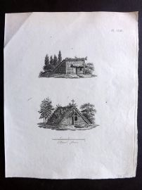 Anon C1800 Antique Print. Study of Old Houses 71
